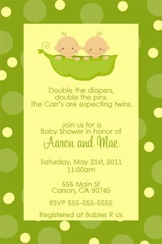 Two Peas In A Pod Baby Shower Invitation  TWINS by dpdesigns2012, $10.00