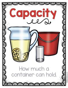 CAPACITY - adorable posters for math vocabulary MEASUREMENT AND DATA - height - capacity - width - length - weight - categories and MORE! Use in a math center or hang on your classroom wall Measurement Kindergarten, Measurement Activities, Math Measurement, Math Vocabulary, Kindergarten Math, Teaching Math, Math Activities, Teaching Reading, Teaching Resources