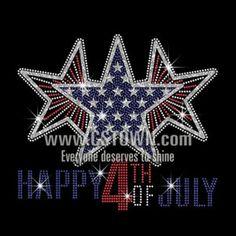 Three Bling Stars Happy Happy 4th of July Iron on Rhinestone Transfer Decal