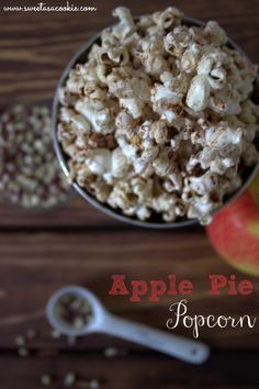 Apple Pie Popcorn | A healthy sugar free snack that tastes like apple cinnamon cheerios by www.sweetasacookie.com #skinny #healthy #snack