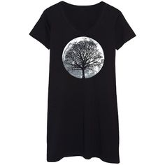 Frillies Black Moon Tree Silhouette T-Shirt Dress ($20) ❤ liked on Polyvore featuring dresses, frilly dresses, cotton t shirt dress, tshirt dress, long cotton dresses and t shirt dress