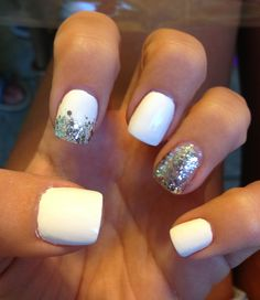 White Nails with Silver Sparkle Effects