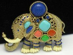 Vintage HATTIE CARNEGIE Egyptian Revival Figural Elephant Brooch Pin Pendant