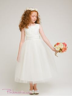 Ivory Floral Decorated Bodice Satin Girl Dress