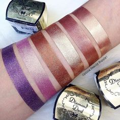 Yassssss incredible swatches of our Diamond Dust shadows by @optimabeauty ✨✨ - Top Cosmic GlowSmoky QuartzStellarBronzerCelestial Psionic
