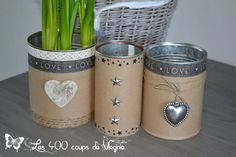 Vasetti alternativi con barattoli di latta! Ecco 20 idee per ispirarvi... Recycle Cans, Diy Cans, Diy Recycle, Tin Can Crafts, Crafts To Sell, Diy And Crafts, Altered Tins, Deco Originale, Paint Cans