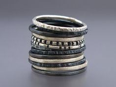 Skinny Stacking Ring Set in Sterling Silver  by LichenAndLychee, $52.00