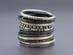 Flaco de apilamiento anillo conjunto en plata de ley  escoge