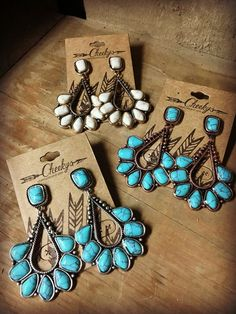 Cheyenne Earrings. #turquoise #ivory #gold #silver #earrings https://cheekysboutique.com