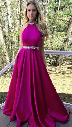 A line Fuchsia Prom Dress,Halter Neckline Graduation Dress,Sexy Open Back Fuchsia Evening Dress #Graduationdresses