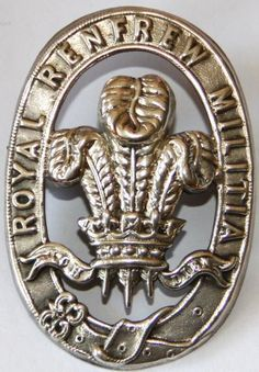 "RENFREW MILITIA OFFICERS CAP BADGE PRE 1881. Rare silver plated example. Fretted centre with Prince of Wales feathers and Regimental motto ""ICH DIEN"". strap with ""ROYAL RENFREW MILITIA"". Good detail and condition. Military Cap, Military Uniforms, Military Memorabilia, Bonnet Cap, Army Hat, British Armed Forces, Challenge Coins, Prince Of Wales, British Army"