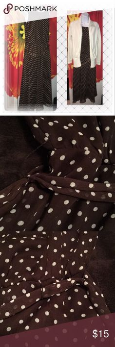 "Polka Dot Swing Dress Brown and cream pre-loved dress is gorgeous on. Can be dressed up or down, please view all pictures. Belt loop detached slightly on right side of dress. Belt can be tied without loop! Dress falls just below my calfs, im 5'5. 18"" armpit to armpit. 47"" long.Make me an offer🌼 JBS Dresses Midi"