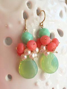 Spring Confetti Cluster Earrings Freshwater by hamptonjewels