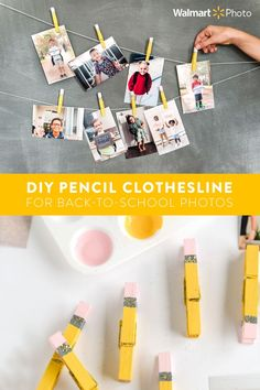 Get your photos off of your phone and onto your walls! First, order 4x6 photo prints of back to school pictures and first day of school pics from the Walmart Photo website — just 9¢ each with same day pickup! For a cute DIY wall display, paint clothespins in yellow, grey, and pink. Add some glitter or glitter glue for a festive touch. Use the pins to pin your photo prints onto yarn or twine to create an easy wall display with a fun back to school theme! #WalmartPhoto Kindergarten Classroom, Art Classroom, Preschool Crafts, Classroom Projects, Elementary Teacher, Elementary Education, Classroom Ideas, Back To School Party, School Parties