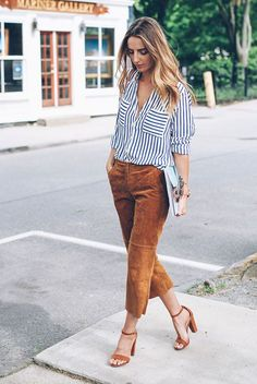 Blue stripe shirt, brown suede crop pants, brown suede ankle strap sandals, white clutch - Work outfits, summer work outfits, outfits for work, office outfits, office wear, simple work outfits, work outfits 2017, spring work outfits.