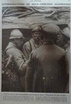 """WWI, Dec 1916, Le Miroir; 'Interrogating German POWs"""""""
