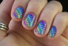 Rainbow dotted manicure.  Base: China Glaze Secret Peri-Wink-le  Dots: CG Pool Party, Papaya Punch, Happy Go Lucky, Kiwi Cool-Ada; Savina Light Mist, Dream; Zoya Breezi