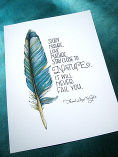 Feather Art Nature QuoteTeal Blue 8x10 Print by PattieJansen, $15.00