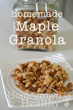 Maple Granola: I make this two batches at a time and it only lasts a few days! Healthy Breakfast Recipes, Healthy Snacks, Snack Recipes, Healthy Eats, Real Food Recipes, Cooking Recipes, Quick Snacks, Granola, Favorite Recipes