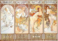 As quatro estações, c. 1895 Alphonse Mucha ( República Checa, 1860-1939) Litografia colorida -
