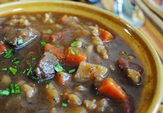 Beef with Barley Soup - It's what we're having for dinner tonight ;). I've used this recipe base the past couple of years. I do tweak to add more veggies, with that a bit more broth (about 8 c), and of course a good splash of red wine. Warms the soul!