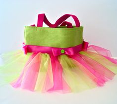 Hot Pink and Lime Green Tutu Tote Bag with Matching Bows on Etsy, $25.00
