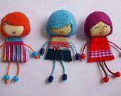 3  lolligirl felt dolls (stripes theme)