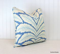 The fabric is Brunschwig & Fils Talavera Blue (100% Linen - 23.5 H./13.5 V repeat - 54 wide). To see the other available colorways, use this link:  https://www.etsy.com/listing/474019274/one-or-both-sides-brunschwig-fils?ga_search_query=Talavera&ref=shop_items_search_1  The price is for ONE pillow cover (select one-sided or both sides and your size above in Dimensions) pillow cover, centered matched print on each side, self cording (note your or...