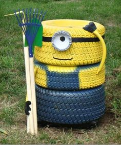 do it yourself ideen reifen gartendeko minion