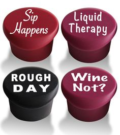Wine Stoppers (4-pack) - Best Wine Gifts Accessories to Label Your Personalized Wine Bottles. Seal Your Favorite Wine with Reusable Silicone Bottle Cap