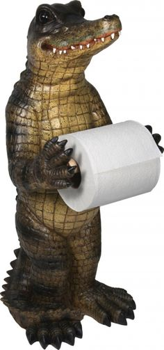 The Rivers Edge Products Standing Alligator Toilet Paper Holder is a decorative and unique toilet paper holder featuring a poly resin design. Over 21 inches tall. Free Standing Toilet Paper Holder, Unique Toilet Paper Holder, Hunting Stores, Cat Attack, Tissue Holders, Paper Holders, Bathroom Storage, Bathroom Ideas, Bathroom Stand