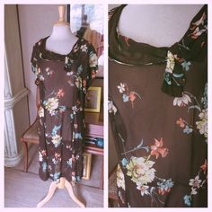 Vintage 1940s Dress Floral Brown Sheer L XL 2XL Swing Pinup Rockabilly 40s 1930s #Unbranded