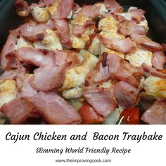The Improving Cook: Cajun Chicken and Bacon Tray Bake recipe. A quick dinner and Slimming World friendly- syn free. Tray Bake Recipes, Bacon Recipes, Turkey Recipes, Chicken Recipes, Dinner Recipes, Chicken Ideas, Dinner Ideas, Quick Weeknight Dinners, Quick Easy Meals
