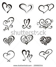 Hearts Tattoo Set Stock Vector 29990554  Shutterstock
