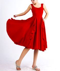 Red linen dress prom dress midi dress ruffled dress by xiaolizi