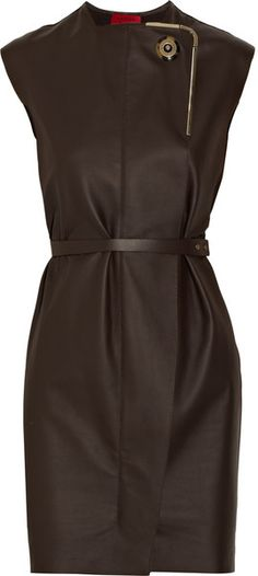 """LANVIN draped """"Chocolate"""" Belted Leather Dress"""