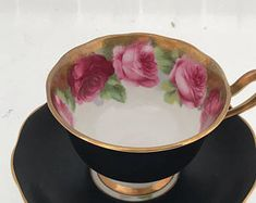 Matte Black Old Country Roses Royal Albert Tea Cup and Saucer 1940's Rare collectible Vintage good condition English