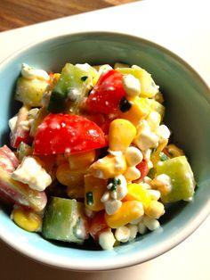 Salat mit körnigem Frischkäse