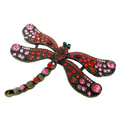 Red and Pink Rinestone Bling Flying Dragonfly Pin.
