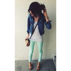 Mint green jeans white tank denim jacket