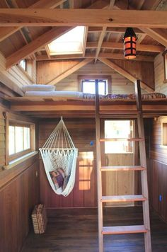 Look at those wood tones, I think there's some willow boards in there. Loft and hammock chair too.