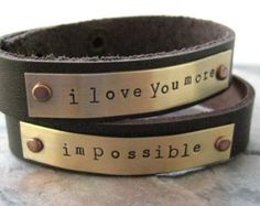 Set of 2 Personalized Leather Cuff Bracelets, 1/2 inch leather cuff, I Love You More or your own words, read listing for specs, valentine