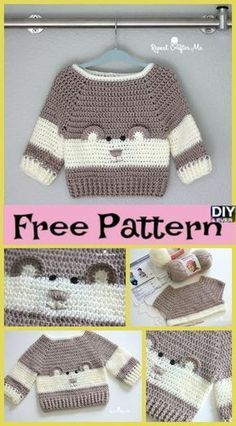Crochet Baby Bear Sweater Free Pattern P - Crochet Baby Bear Sweater - . - Kinder Kleidung, Crochet Baby Bear Sweater Free Pattern P - Crochet Baby Bear Sweater - . Pull Crochet, Gilet Crochet, Free Crochet, Crochet Hats, Crochet Cardigan, Crochet Braids, Pullover Mode, Baby Pullover, Baby Boy Sweater