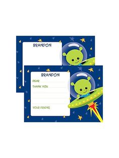 Space Alien Personalized Thank You Note