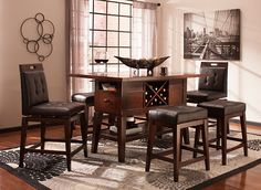 Danfield Counter-Height Dining Table w/ Wine Storage | Dining Sets | Raymour and Flanigan Furniture & Mattresses