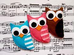Bubu the owl  cute felt brooch or magnet bird by mirkajakabova