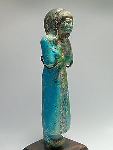 Blue faience Ushabti of the Royal son Khaemouaset. 19th dynasty, reign of Rameses II. Ancient Egypt. French private collection.