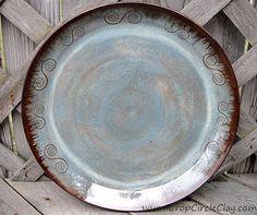Wheel Thrown Pottery Platter Spiral Swirl Green Blue Wedding, Mother's Day, Housewarming Gift by CropCircleClay