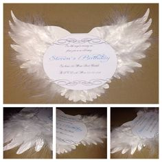Angel Birthday Invitation  Christening Invitation  by AmiraDesign,