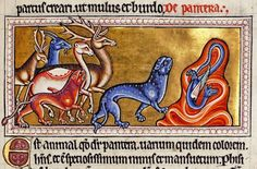 Panther and deer from Aberdeen Bestiary